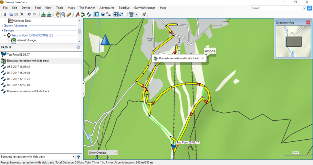 GARMIN Base Camp Outdoor softver track to route way analitics